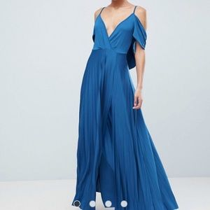 NEW ASOS cowl back pleated maxi dress size s/m